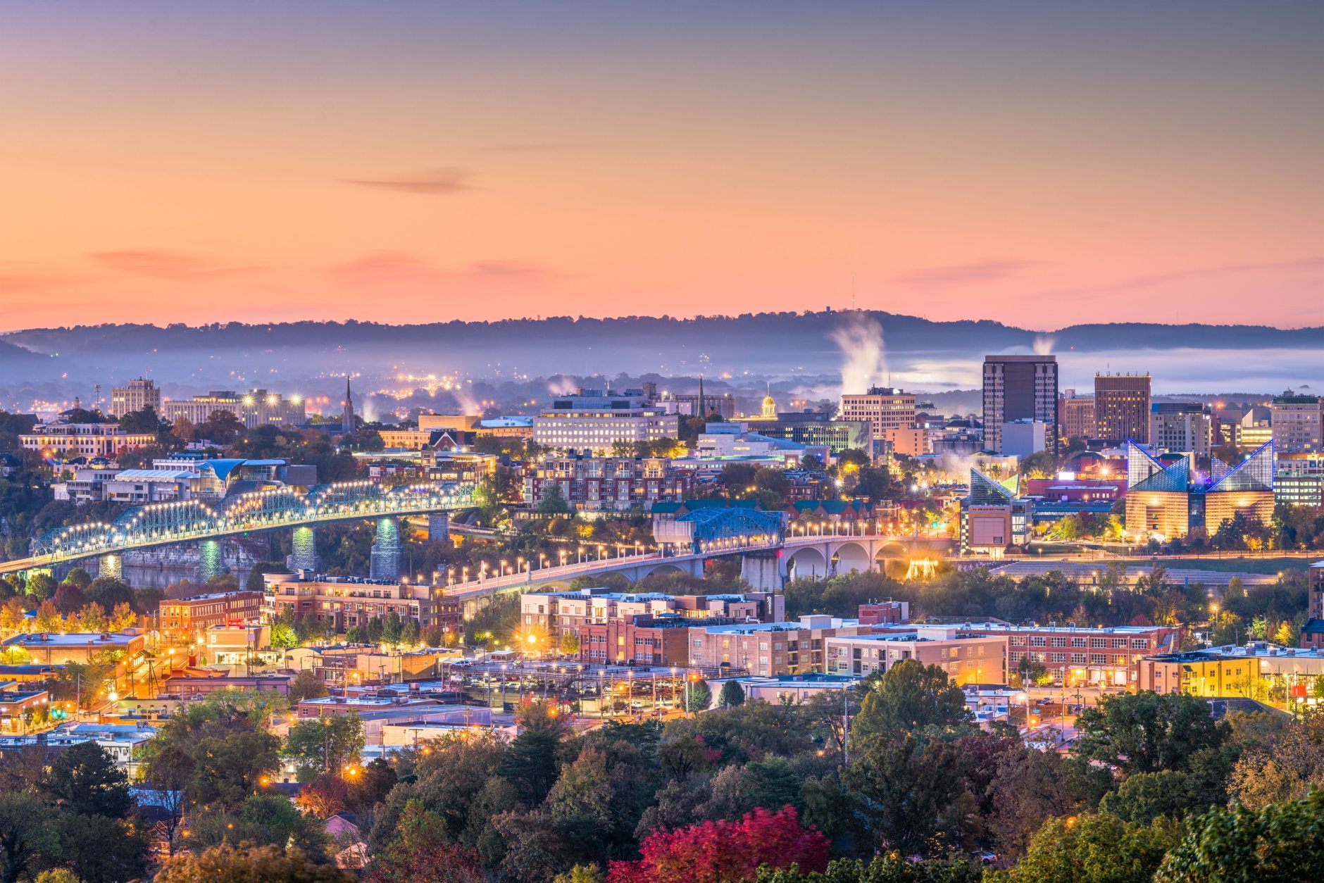 Memphis, Tennessee, USA downtown city skyline at dusk.