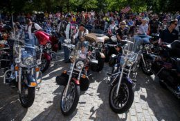 "Bikers participate in a blessing of the bikes event at the Washington National Cathedral on May 24, 2019 in Washington, DC. Rolling Thunder will mark the 32nd anniversary of its annual ""Ride for Freedom"" motorcycle procession and commemorative events this Memorial Day weekend for raising the attention of POW and MIA issues (Photo by Zach Gibson/Getty Images)"