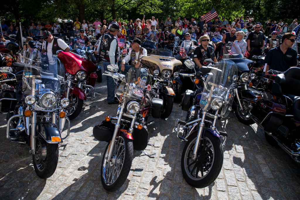 """Bikers participate in a blessing of the bikes event at the Washington National Cathedral on May 24, 2019 in Washington, DC. Rolling Thunder will mark the 32nd anniversary of its annual """"Ride for Freedom"""" motorcycle procession and commemorative events this Memorial Day weekend for raising the attention of POW and MIA issues (Photo by Zach Gibson/Getty Images)"""