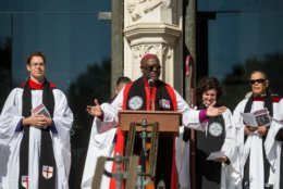 """The Rt. Rev. Carl Walter Wright, VII Bishop Suffragan for the Armed Forces and Federal Ministries, speaks during a blessing of the bikes event at the Washington National Cathedral on May 24, 2019 in Washington, DC. Rolling Thunder will mark the 32nd anniversary of its annual """"Ride for Freedom"""" motorcycle procession and commemorative events this Memorial Day weekend for raising the attention of POW and MIA issues (Photo by Zach Gibson/Getty Images)"""