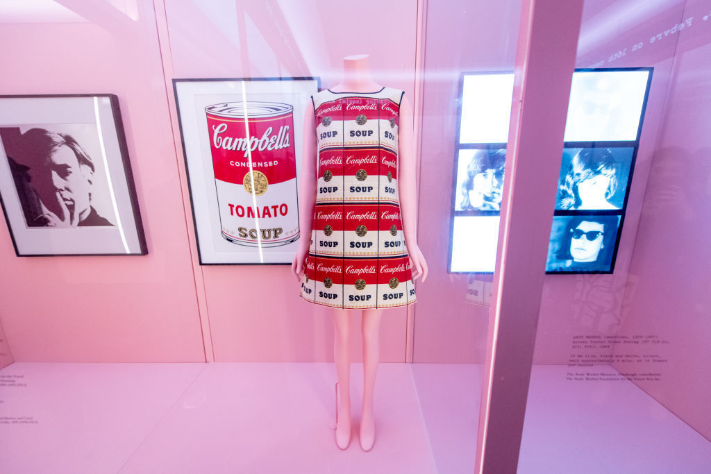 NEW YORK, NEW YORK - MAY 06: A dress Designed by Andy Warhol  during the 2019 Met Gala Celebrating Camp: Notes On Fashion - Press Preview at The Metropolitan Museum of Art on May 06, 2019 in New York City. (Photo by Roy Rochlin/Getty Images)