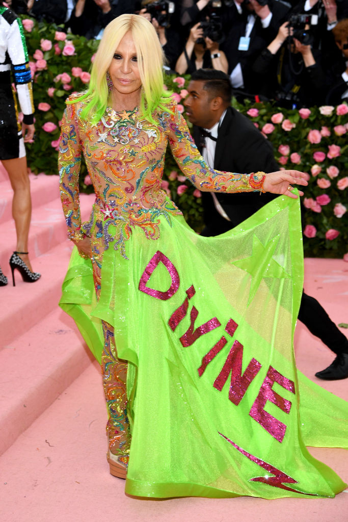 NEW YORK, NEW YORK - MAY 06: Donatella Versace attends The 2019 Met Gala Celebrating Camp: Notes on Fashion at Metropolitan Museum of Art on May 06, 2019 in New York City. (Photo by Dimitrios Kambouris/Getty Images for The Met Museum/Vogue)