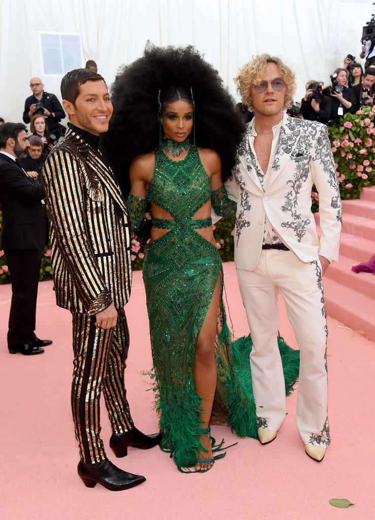 NEW YORK, NEW YORK - MAY 06: (L-R) Evangelo Bousis, Ciara and Peter Dundas attend The 2019 Met Gala Celebrating Camp: Notes on Fashion at Metropolitan Museum of Art on May 06, 2019 in New York City. (Photo by Jamie McCarthy/Getty Images)