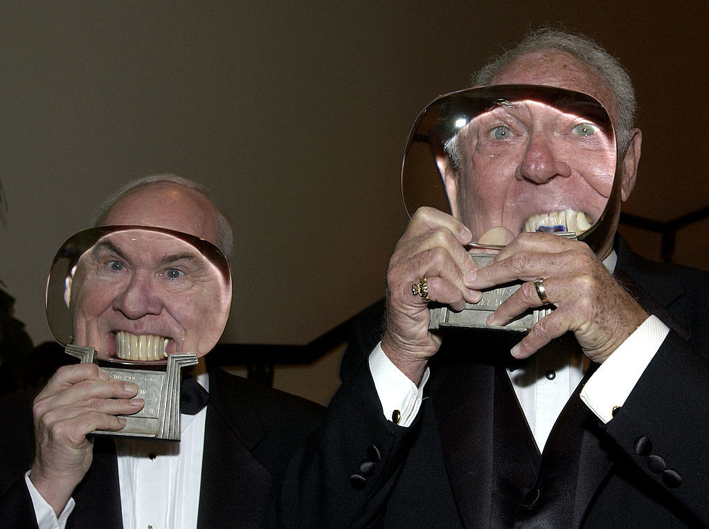 BEVERLY HILLS, CA - NOVEMBER 6:  Actor/comedians  Tim Conway (L) and Harvey Korman pose with their awards at The Academy of Television Arts and Sciences' 15th Annual Hall of Fame ceremony at the Beverly Hills Hotel on November 6, 2002 in Beverly Hills, California. (Photo by Vince Bucci/Getty Images)