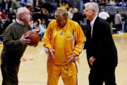 LOS ANGELES - JANUARY 30:  (L-R) Actors Tim Conway, Jerry Van Dyke and former California governor Gray Davis tape a skit for a television show during halftime of the game between the Los Angeles Lakers and the Minnesota Timberwolves on January 30, 2004 in Los Angeles, California. (Photo by Vince Bucci/Getty Images)