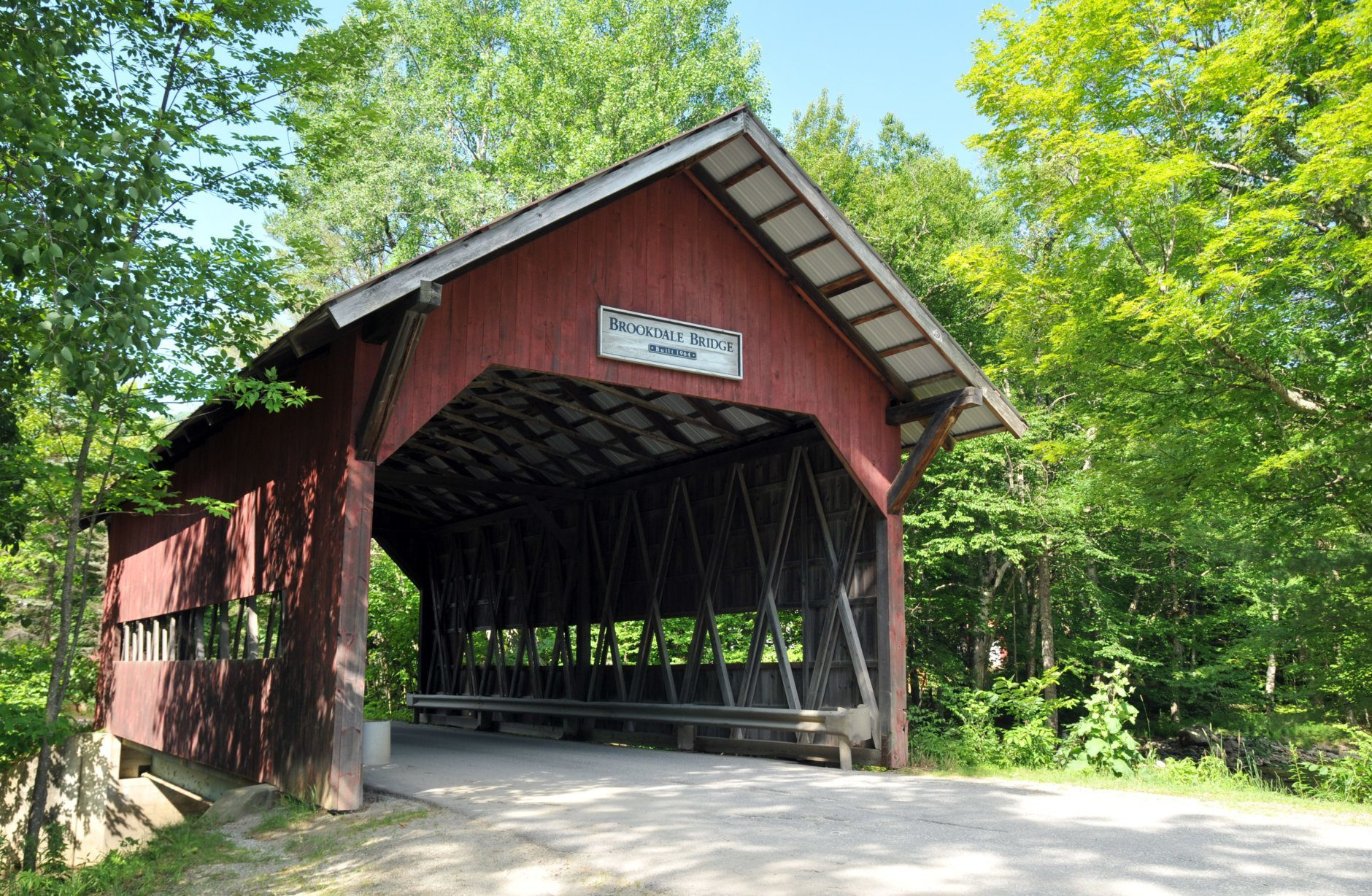 Brookdale covered bridge on Brook Road in Stowe, Vermont; also known as Brook Road or White Caps Bridge
