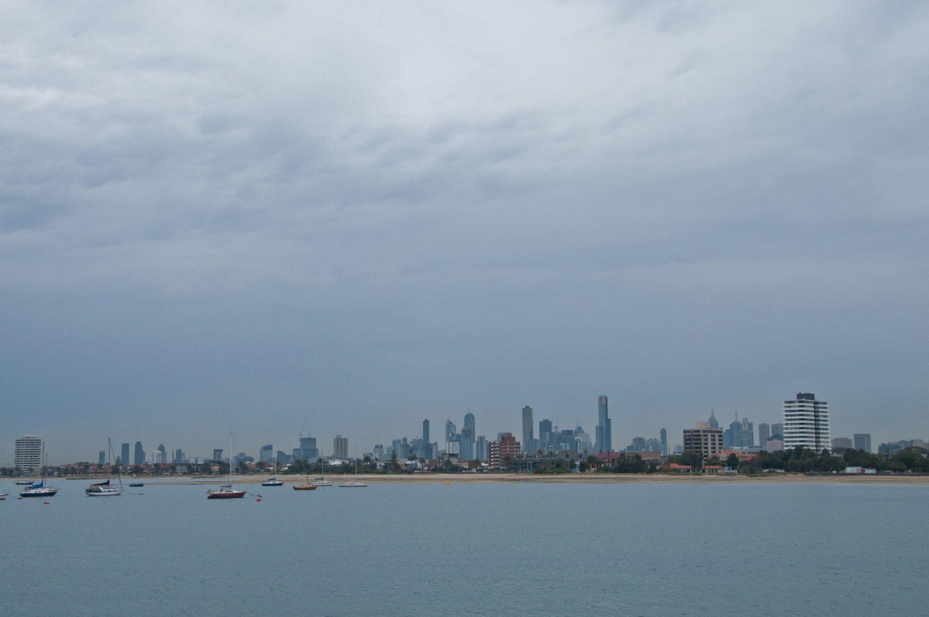 Melbourne skyline landscape scene in the evening