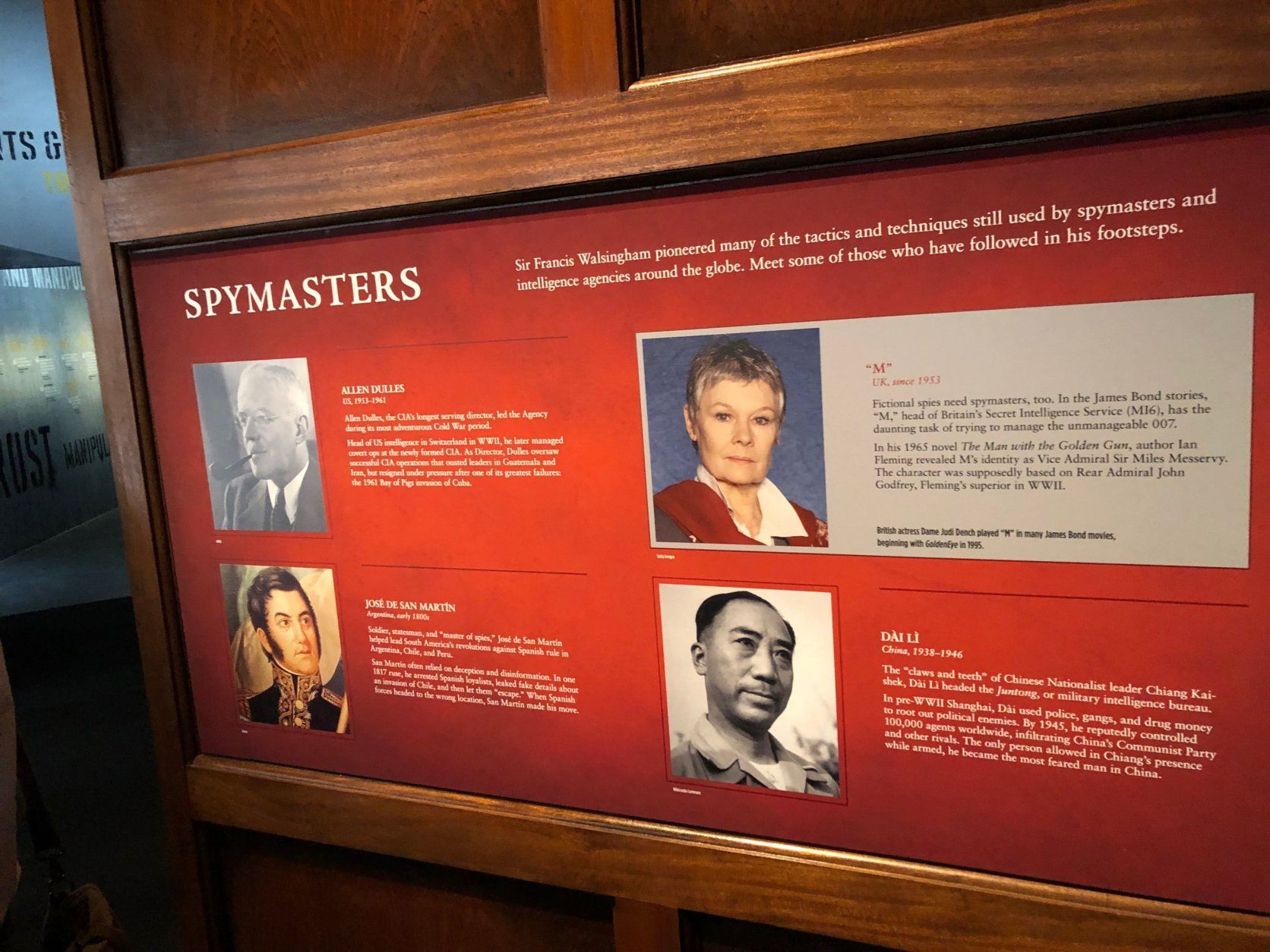 Information about notable spymasters (both real and fictional) around the world at the new Spy Museum. (WTOP/J.J. Green)