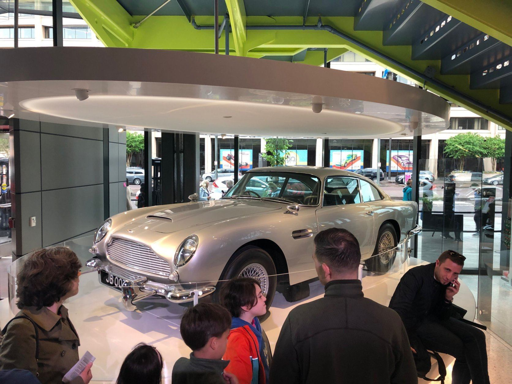 James Bond's legendary Aston Martin  DB5 on display at the International Spy Museum. (WTOP/Keara Dowd)