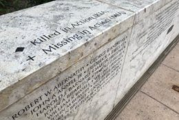 One of the names engraved in the memorial is that of Tommy Moffitt, who was killed in action in Vietnam, at the age of18. (WTOP/Michelle Basch)
