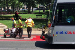 A pilot program creating bus-only lanes along busy corridors in downtown D.C. launches Monday. (WTOP/Kristi King)