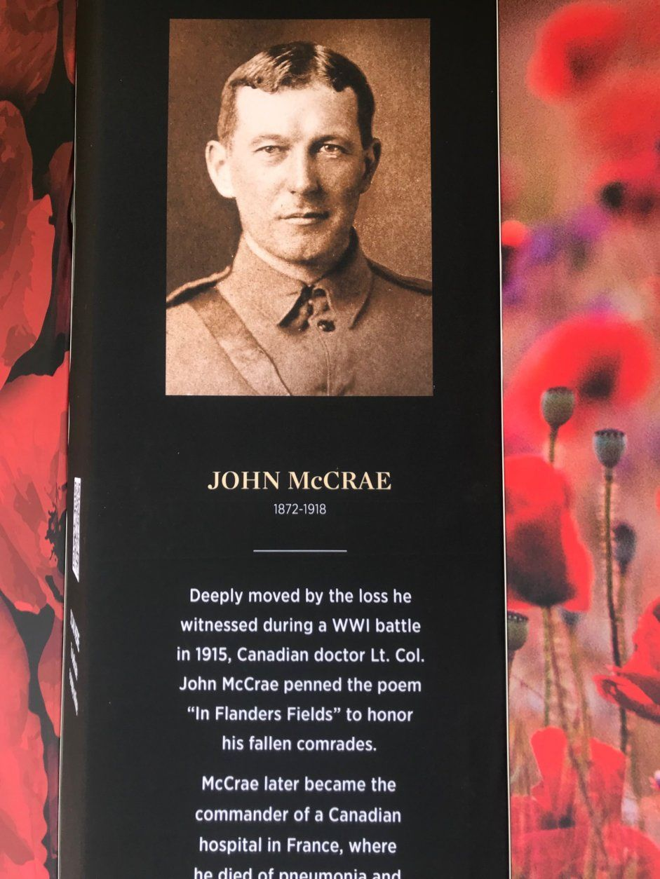"""Information about John McRae, who penned the poem """"In Flanders Field"""" to honor fallen soldiers. (WTOP/Dick Uliano)"""