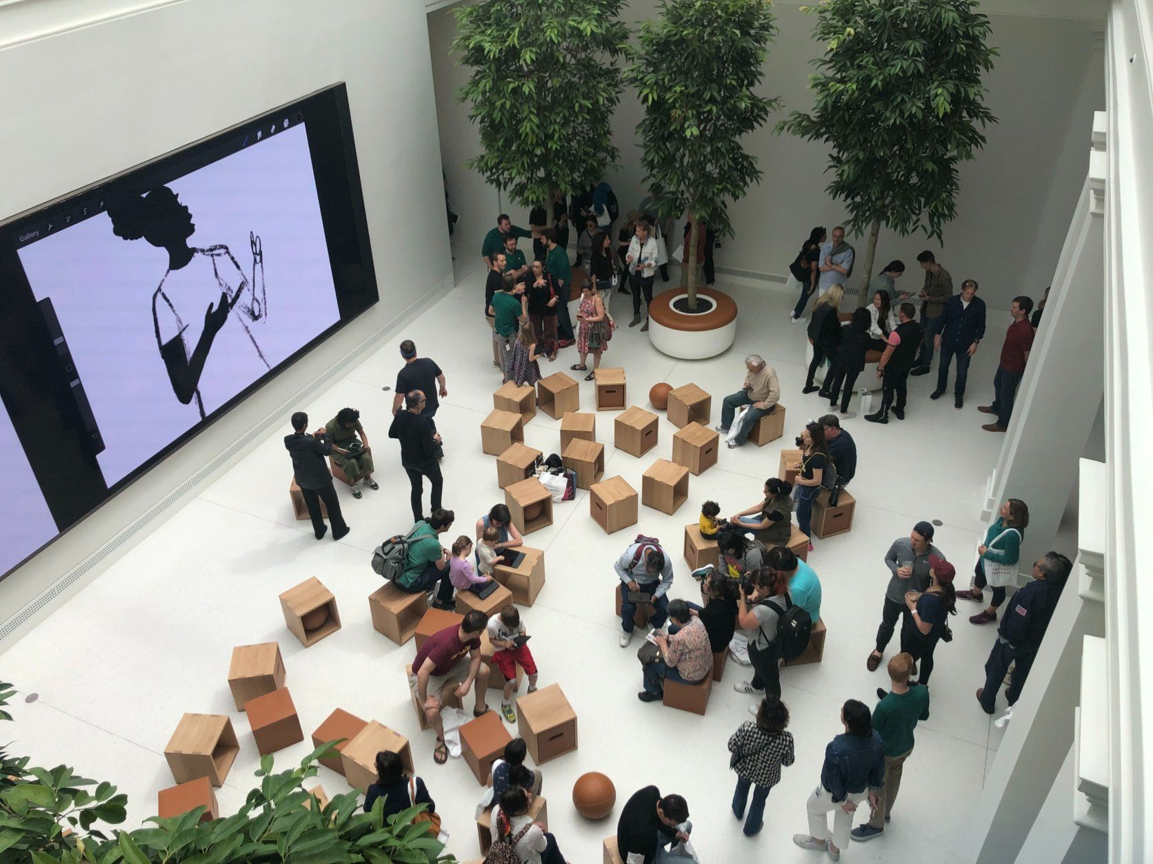 Inside Apple's new flagship store at D.C.'s Carnegie Library. (WTOP/Melissa Howell)
