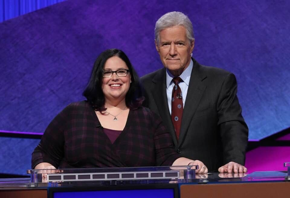 """Teacher Sara DelVillano with """"Jeopardy!"""" host Alex Trebek. (Courtesy Jeopardy)"""