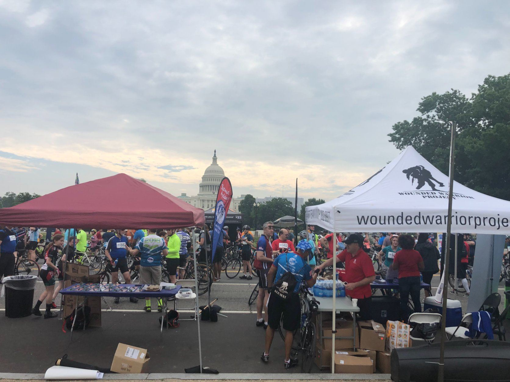 Sponsor tents lined up near the  Finish Festival at D.C. Bike Ride. (WTOP/Melissa Howell)