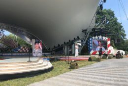 The stage is set for the 30th National Memorial Day Concert. (WTOP/Melissa Howell)