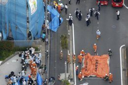 This aerial photo shows the scene of an attack in Kawasaki, near Tokyo Tuesday, May 28, 2019. Authorities say a number of people have been stabbed in an attack. (Jun Hirata/Kyodo News via AP)