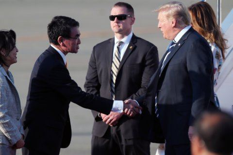 Trump opens state visit, needles Japan over trade issues
