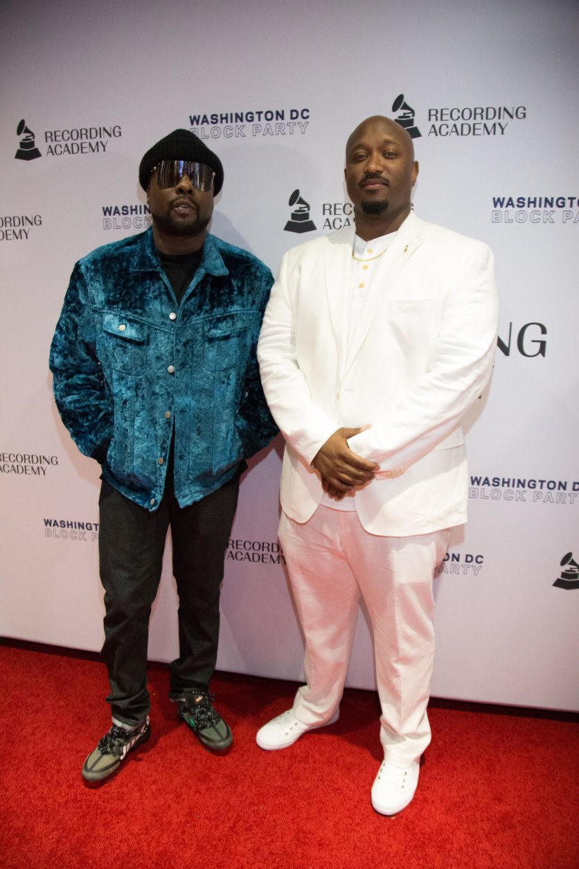 Executive Director of the Recording Academy D.C. chapter, Jeriel Johnson and Wale, celebrate the local music community at the inaugural Washington D.C. Chapter block party. (Courtesy of The Recording Academy/Brian Stukes)