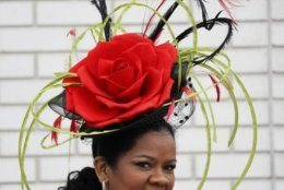 A woman wears a hat during the 145th running of the Kentucky Derby horse race at Churchill Downs Saturday, May 4, 2019, in Louisville, Ky. (AP Photo/John Minchillo)