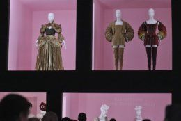 """Fashion designs for the Metropolitan Museum of Art's Costume Institute gala exhibit, """"Camp: Notes on Fashion,"""" is unveiled at a press preview, Monday, May 6, 2019, in New York. (AP Photo/Bebeto Matthews)"""