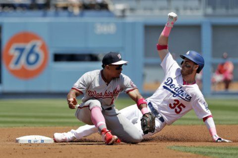 Ryu carries no-hitter into 8th, Dodgers blank Nationals 6-0