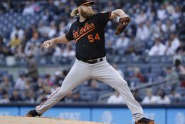 Baltimore Orioles' Andrew Cashner delivers a pitch during the first inning in the second baseball game of the team's doubleheader against the New York Yankees on Wednesday, May 15, 2019, in New York. (AP Photo/Frank Franklin II)