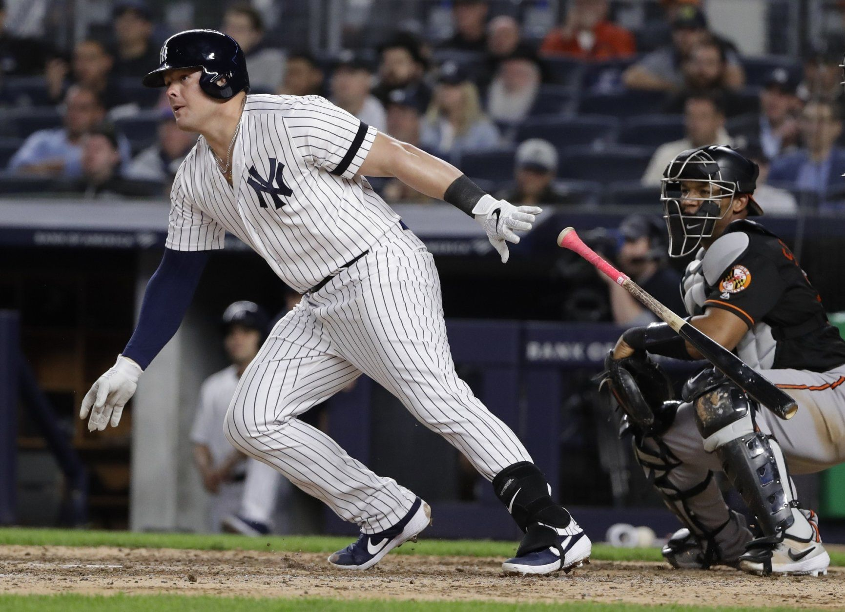New York Yankees' Luke Voit follows through on a RBI single during the seventh inning of the second baseball game of the team's doubleheader against the Baltimore Orioles on Wednesday, May 15, 2019, in New York. (AP Photo/Frank Franklin II)