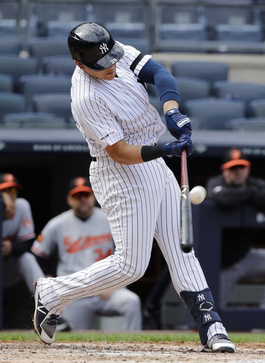 New York Yankees' Gio Urshela connects for a base hit during the fourth inning of a baseball game against the Baltimore Orioles Wednesday, May 15, 2019, in New York. Urshela advanced to third base on a fielding error by right fielder Trey Mancini. (AP Photo/Frank Franklin II)