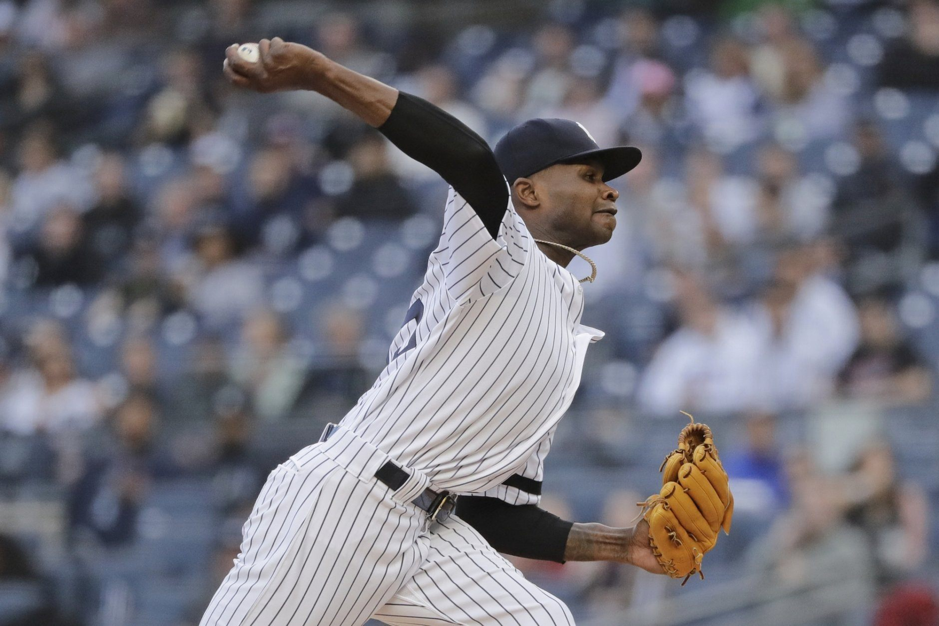 New York Yankees' Domingo German delivers a pitch during the first inning in the second baseball game of the team's doubleheader against the Baltimore Orioles on Wednesday, May 15, 2019, in New York. (AP Photo/Frank Franklin II)