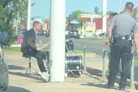 Responding to noise complaint about man playing drums, officer jammed out too