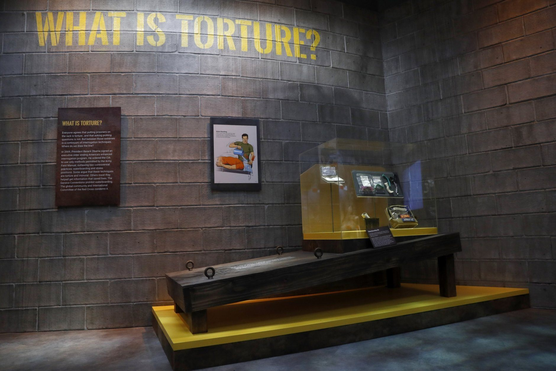 An exhibit on torture includes a section on waterboarding in the new International Spy Museum, Tuesday April 30, 2019, in Washington. Take a back seat James Bond, because it's the stories of real-life spies that take center stage at the new International Spy Museum in Washington.  The expanded museum in its new building will open May 12. (AP Photo/Jacquelyn Martin)