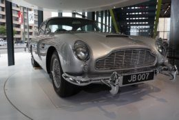 A car used in a James Bond movie adorns the lobby of the new International Spy Museum, Tuesday April 30, 2019, in Washington. Take a back seat James Bond, because it's the stories of real-life spies that take center stage at the new International Spy Museum in Washington.  The expanded museum in its new building will open May 12. (AP Photo/Jacquelyn Martin)