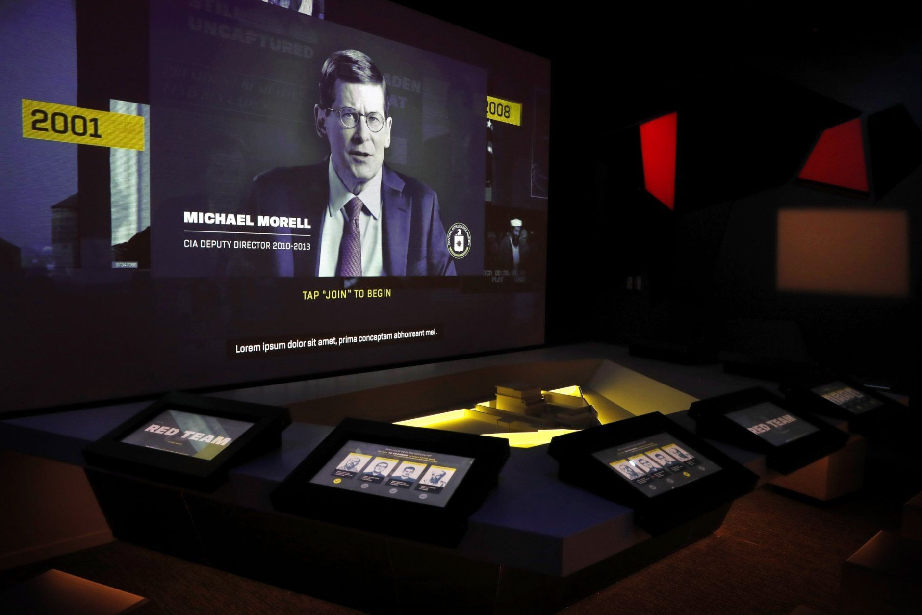 An interactive featuring a model of Osama bin Laden's compound in Abbottabad, Pakistan is among the exhibits at the new International Spy Museum, Tuesday April 30, 2019, in Washington. Take a back seat James Bond, because it's the stories of real-life spies that take center stage at the new International Spy Museum in Washington.  The expanded museum in its new building will open May 12. (AP Photo/Jacquelyn Martin)