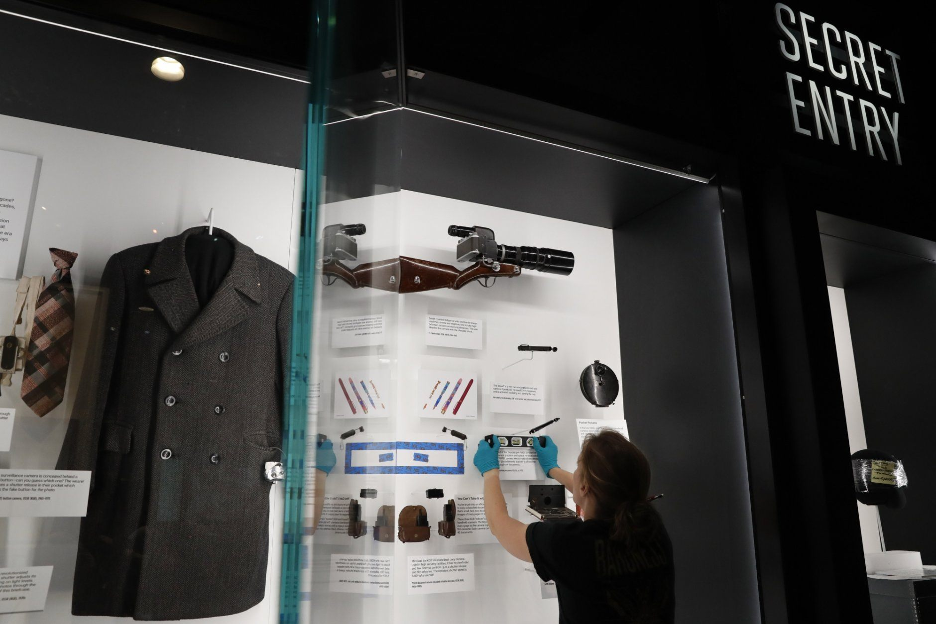 Exhibits are installed in the new International Spy Museum, Tuesday April 30, 2019, in Washington. Take a back seat James Bond, because it's the stories of real-life spies that take center stage at the new International Spy Museum in Washington.  The expanded museum in its new building will open May 12. (AP Photo/Jacquelyn Martin)