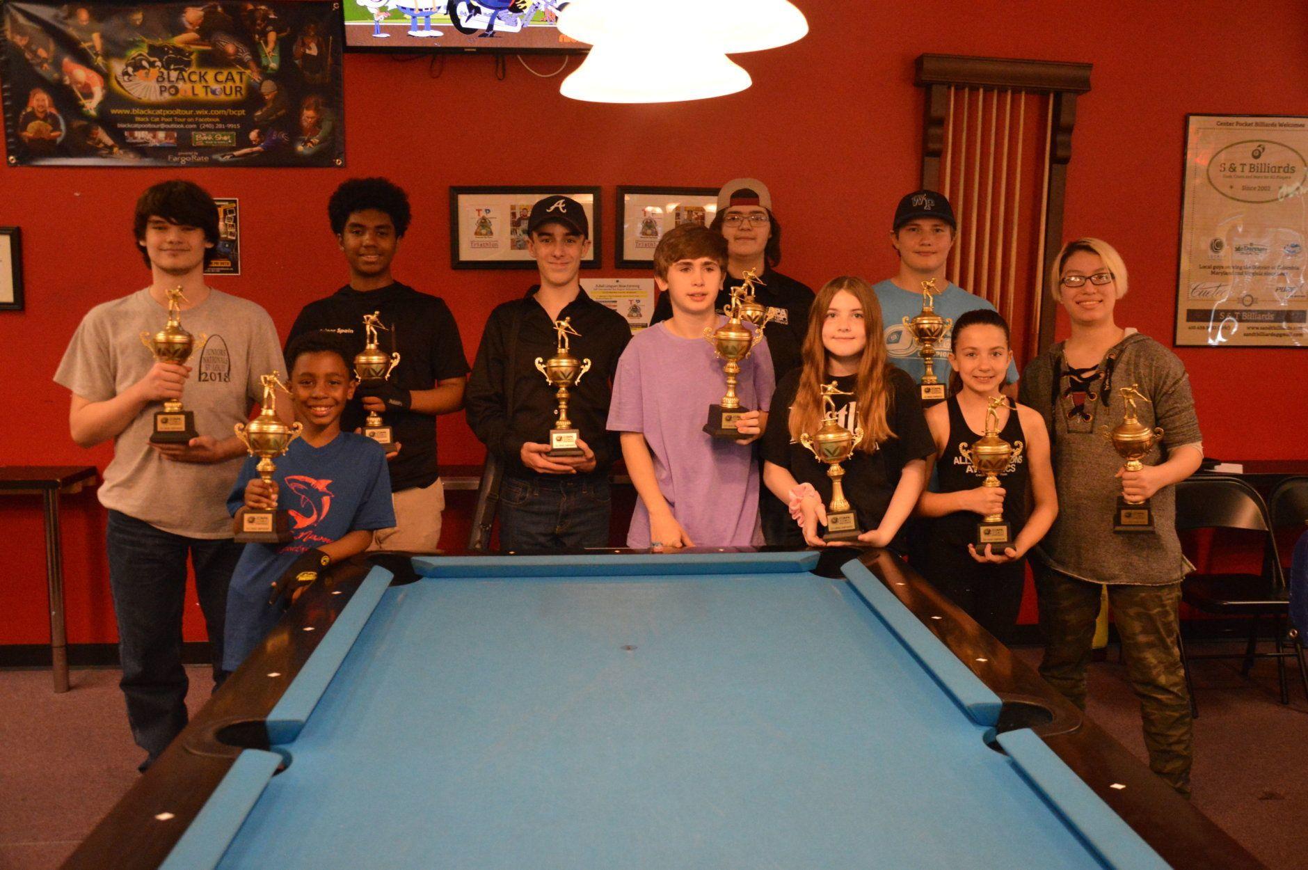 The 10 winners.  From left to right: Dalton Giffin, 17, Alexandria, VA, D'Angelo (Jawz) Spain, 8, Glen Burnie, MD, Frank (Sniper) Spain III, 16, Glen Burnie, MD, Jackson Strong, 13, Fairfax, VA, John Mack III, 13, Pasadena, MD, Braxton Ellison IV, 17, Newville, PA, Taylor Perkins, 11, Burke, VA, Collin McBain, 16, Alexandria, VA, Skylar Hess, 10, Bowie, MD, Victoria (Jana) Mitchell, 17, Springfield, VA. (Courtesy Greater D.C. Area APA)