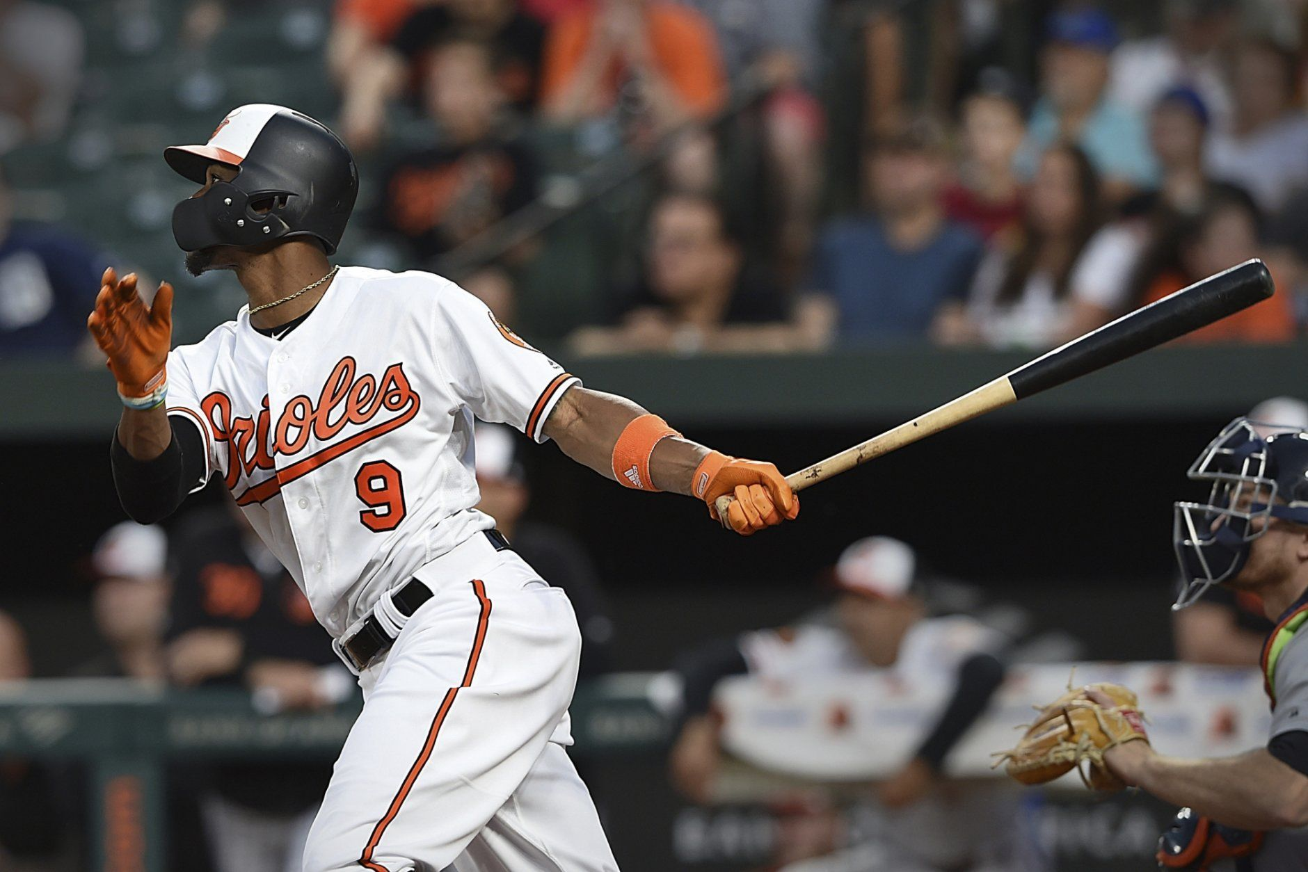 Baltimore Orioles' Keon Broxton watches his solo home run against the Detroit Tigers during the fourth inning of a baseball game Wednesday, May 29, 2019, in Baltimore. (AP Photo/Gail Burton)