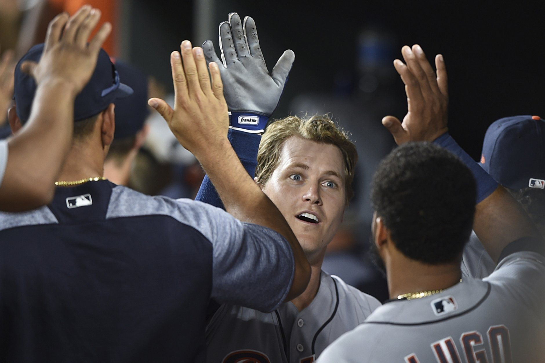 Detroit Tigers' Brandon Dixon celebrates in the dugout after hitting a two-run home run against the Baltimore Orioles during the ninth inning of a baseball game Wednesday, May 29, 2019, in Baltimore. The Tigers won 4-2.(AP Photo/Gail Burton)