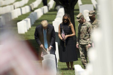Trump visits Arlington National Cemetery before Memorial Day