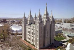 """FILE - In this April 18, 2019, file photo, shows the Salt Lake Temple, in Salt Lake City. The Church of Jesus Christ of Latter-day Saints came out Monday, May 13, 2019, against a comprehensive nondiscrimination bill that faces long odds in Congress, saying the legislation doesn't """"meet the standard of fairness for all"""" because it would strip key religious freedom protections. (AP Photo/Rick Bowmer, File)"""