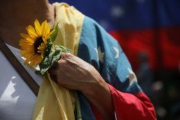 An opponent of the Nicolas Maduro government holds a sunflower and a Venezuelan national flag as she waits for the arrival of opposition leader Juan Guaidó to lead a rally in Caracas, Venezuela, Saturday, May 11, 2019. Guaidó has called for nationwide marches protesting the Maduro government, demanding new elections and the release of jailed opposition lawmakers. (AP Photo/Rodrigo Abd)