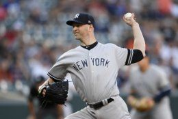 New York Yankees starting pitcher J.A. Happ delivers during the first inning of a baseball game against the Baltimore Orioles, Monday, May 20, 2019, in Baltimore. (AP Photo/Nick Wass)