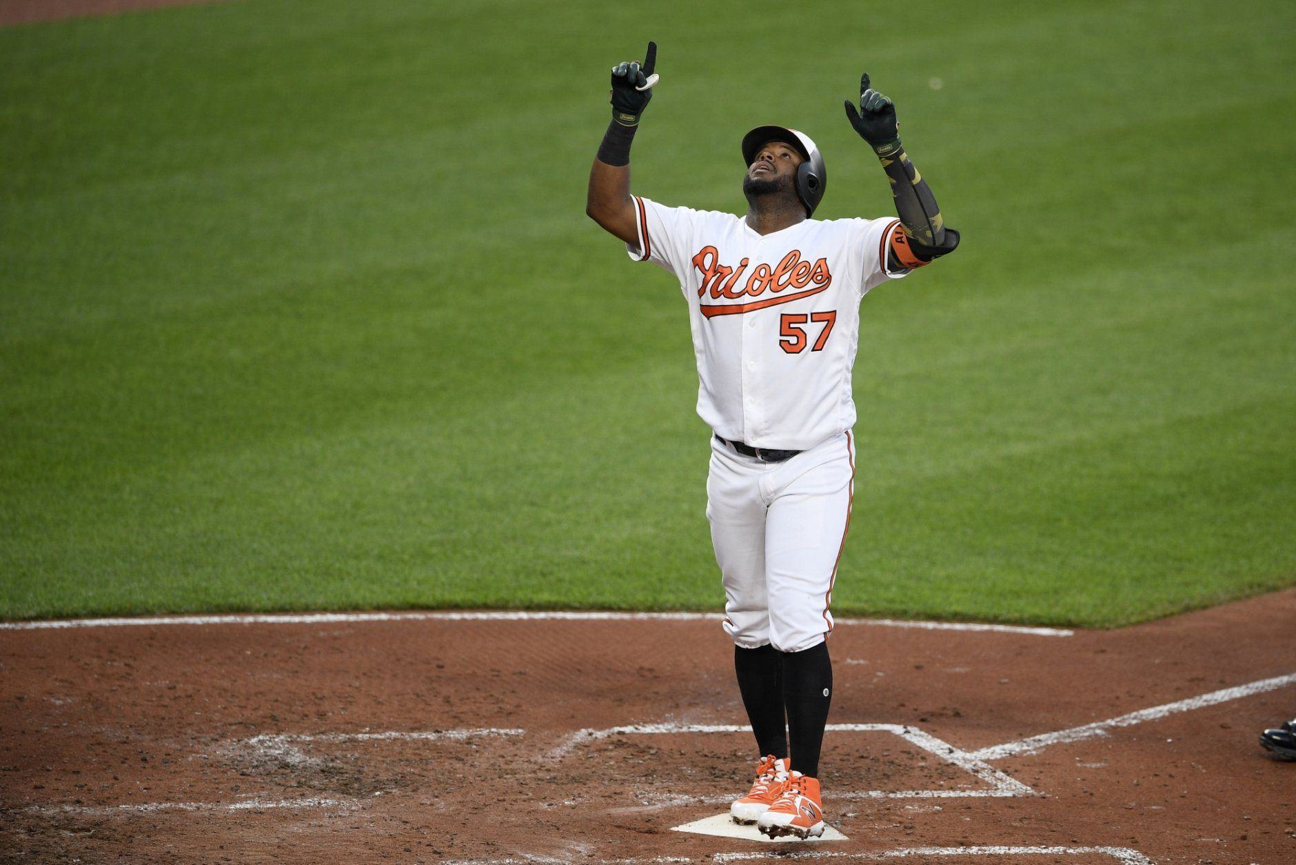 Baltimore Orioles' Hanser Alberto celebrates his home run during the third inning of a baseball game against the New York Yankees, Monday, May 20, 2019, in Baltimore. (AP Photo/Nick Wass)