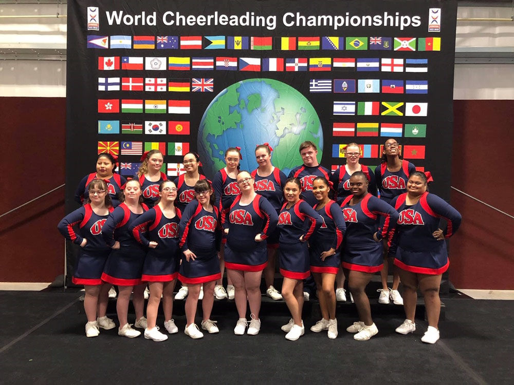 The team poses at the World Cheerleading Championships. (Courtesy JOY Supernovas)