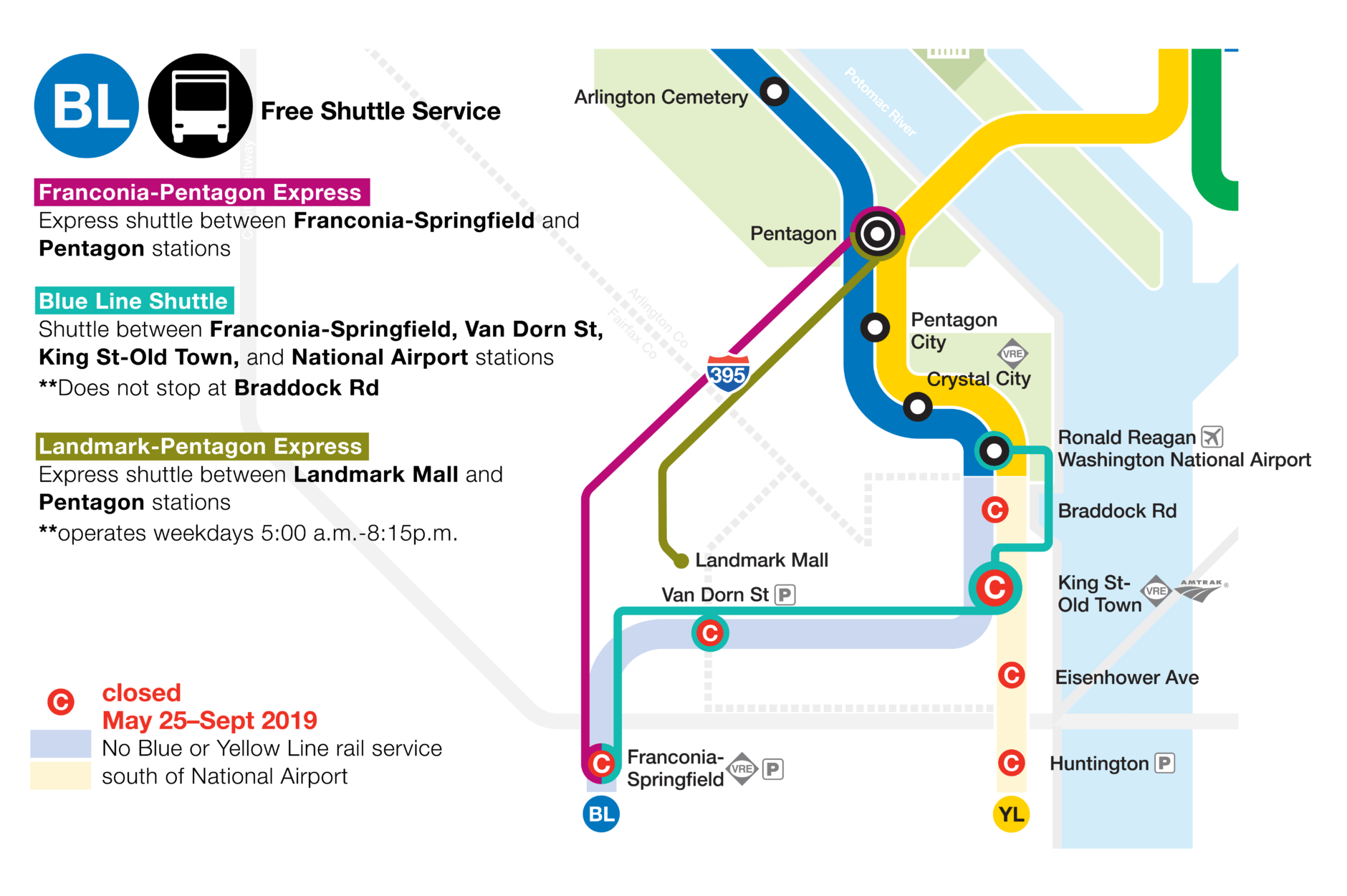 The closure of the Franconia-Springfield, Van Dorn Street, Huntington, Eisenhower Avenue, King Street and Braddock Road stations is meant to provide time to repair platforms and make other upgrades at the stations. (Courtesy Metro)