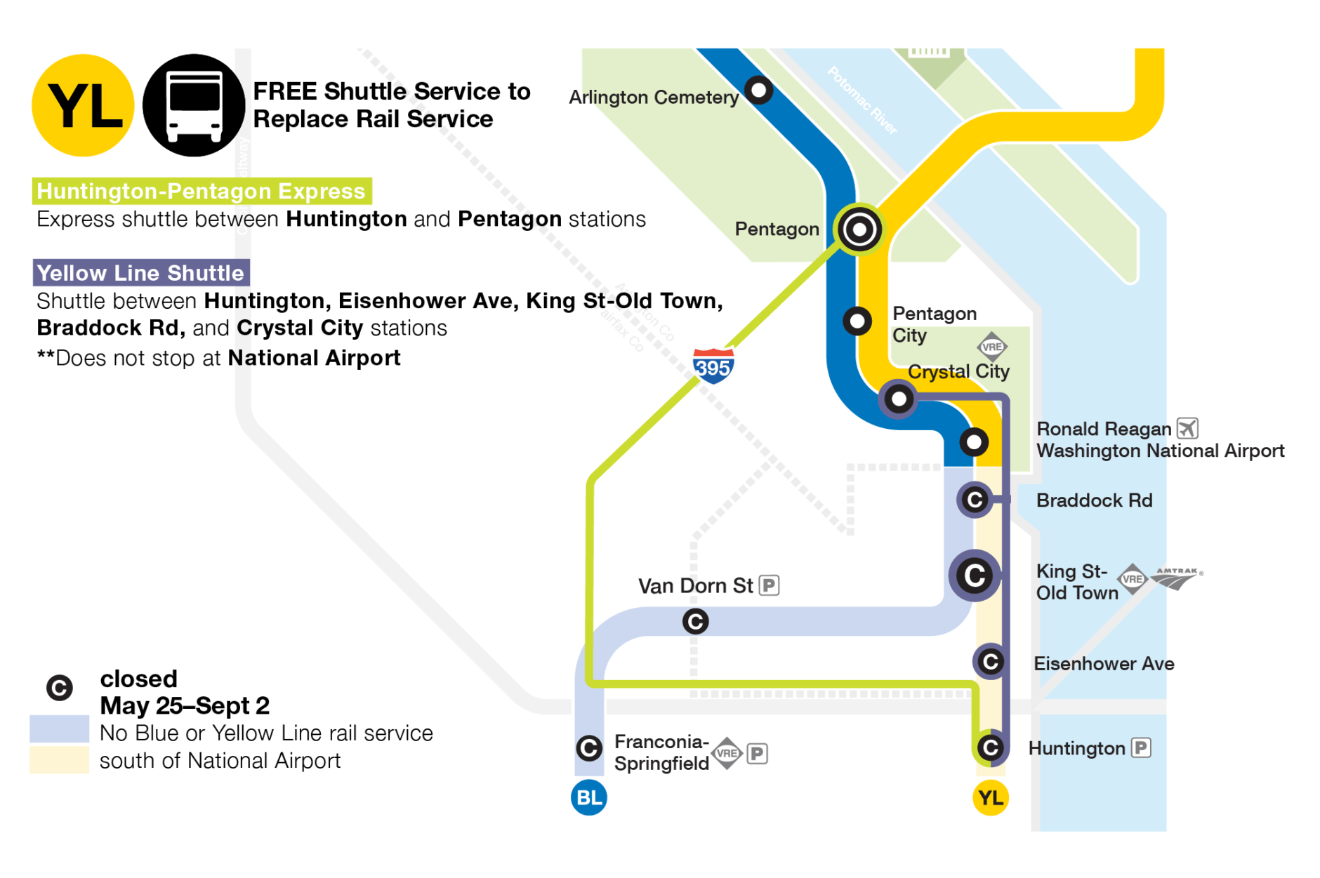 There will be an express shuttle between Huntington and Pentagon stations available. The Yellow Line shutdown will have a shuttle between Huntington, Eisenhower Avenue, King Street-Old Town, Braddock Road and Crystal City stations. (Courtesy Metro)
