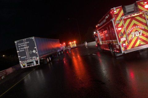 Outer Loop of Capital Beltway reopens after 3 tractor-trailers jackknifed