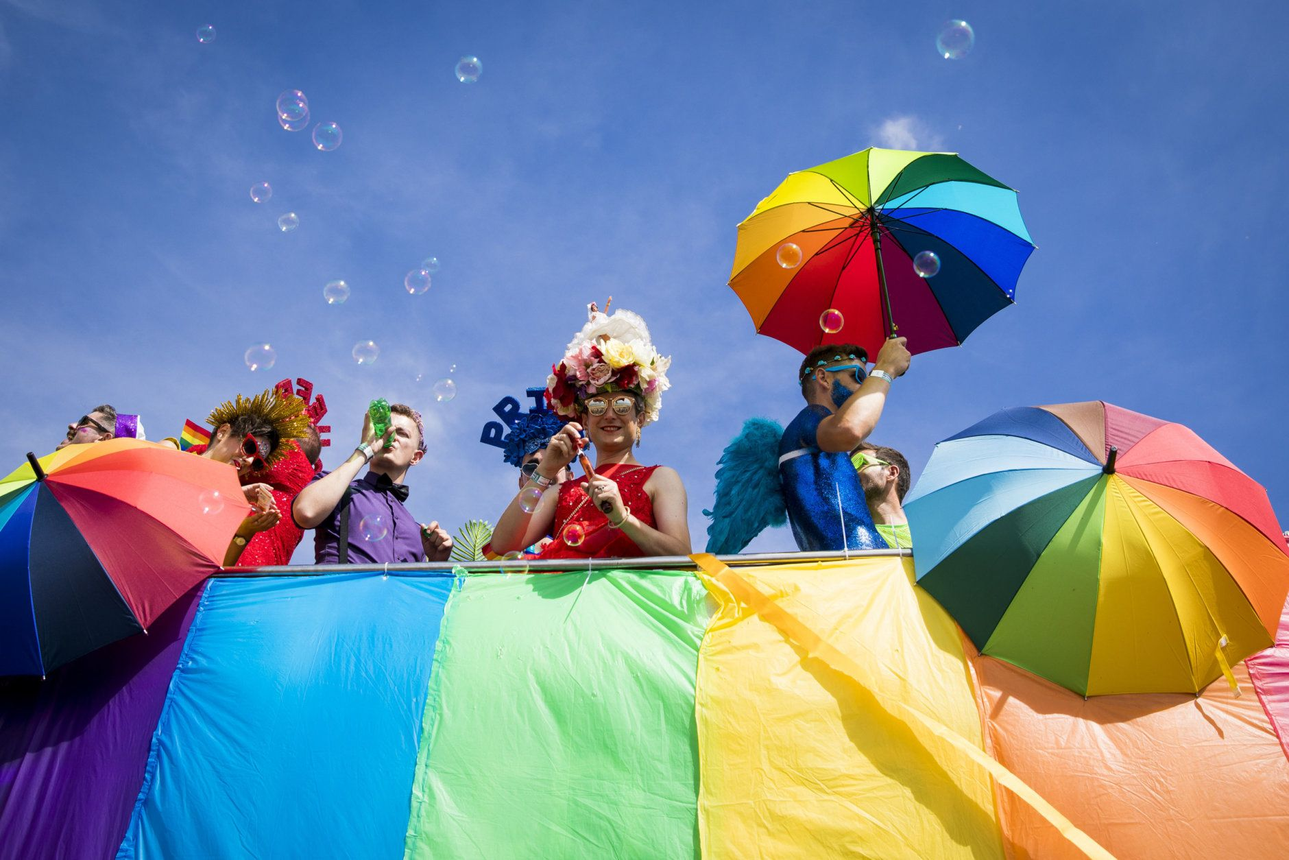 BRIGHTON, ENGLAND - AUGUST 04:  Parade goers during Brighton Pride 2018 on August 4, 2018 in Brighton, England.  (Photo by Tristan Fewings/Getty Images)