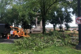 Crews clear downed trees at the John Paul Jones Memorial on Independence Avenue in D.C. after a storm on Thursday, May 22, 2019. (Courtesy National Park Service)