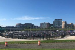 Motorcycle gearing up for the final Rolling Thunder. (WTOP/Melissa Howell)